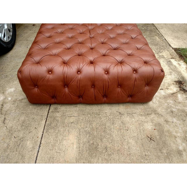Gambrell Renard Tufted Leather Ottoman - Image 4 of 5