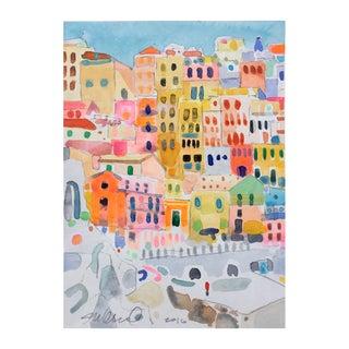 Cinque Terra 3 Abstract Watercolor Painting
