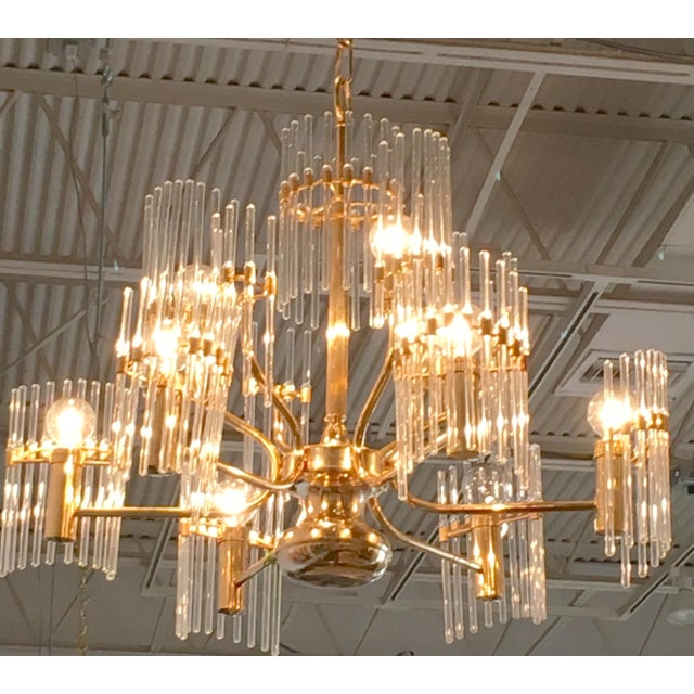 Image of Sciolari Crystal Rod and Brass Chandelier