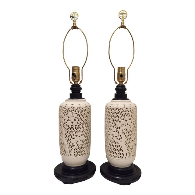 White blanc de chine table lamps a pair chairish for Table de chine