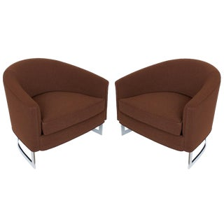 Selig Barrel Back Lounge Chairs - A Pair