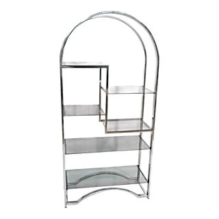 Milo Baughman Chrome Arched Top Etagere