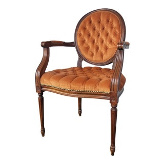 Antique Louis French Accent Orange Tufted Side Chair