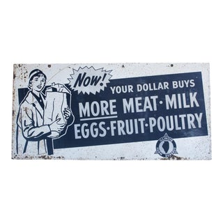 XL 1950's Metal advertising sign