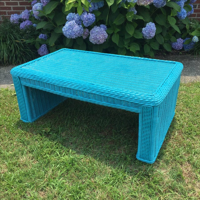 Wicker Coffee Table Indoor Uk: Caribbean Blue Indoor-Outdoor Wicker Coffee Table