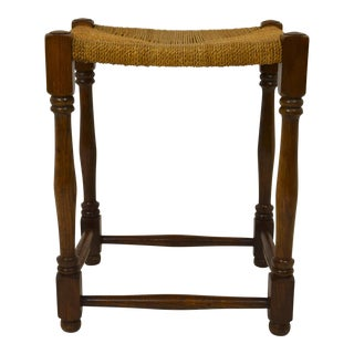 English Oak Stool with Hemp Rope Seat