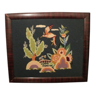 Antique Needlepoint Picture