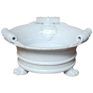 Italian Glazed Ceramic Footed Jardiniere with Craquelure Finish