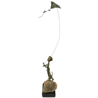 1970s Malcolm Moran Bronze Sculpture 'Boy With Kite' Sculpture