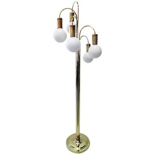 Five-Arm Brass Waterfall Laurel Floor Lamp