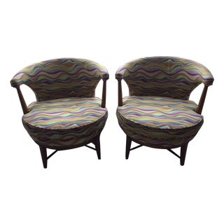 Vintage Swivel Chairs in Kravet Fabric - A Pair
