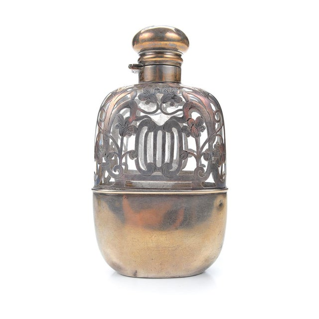 Image of Antique 19th C. Sterling Silver & Glass Flask