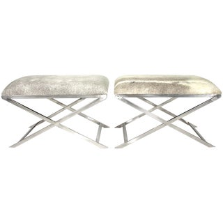 Cowhide and Chrome Benches - Pair
