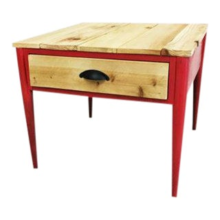 Upcycled Pine Wood One Drawer End Table