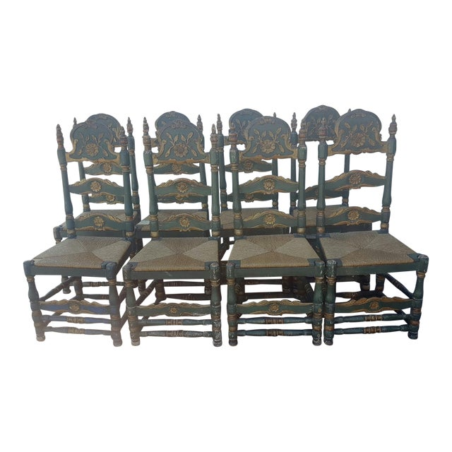 Green Painted Ladder Back Dining Chairs- Set of 8 - Image 1 of 10
