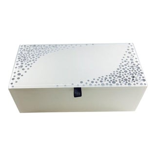 Glass Jewelry Box With Silver Polka Dots