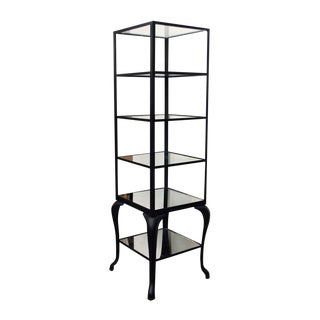 Cast Steel Shelving Unit with Distressed Mirrored Glass Shelves