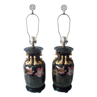 Decorative Oriental Pink Lotus Table Lamps - Pair