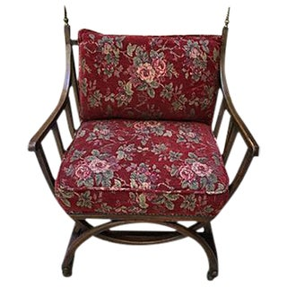 Red Floral Barrel Chair