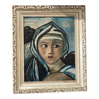Framed Vintage Girl with Scarf Painting