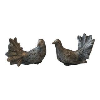 Pewter Bird Figurines - A Pair