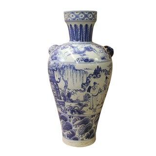 Chinese Blue White Porcelain Scenery Foo Dog Ear Vase