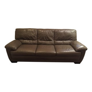 Natuzzi Taupe Leather Sofa