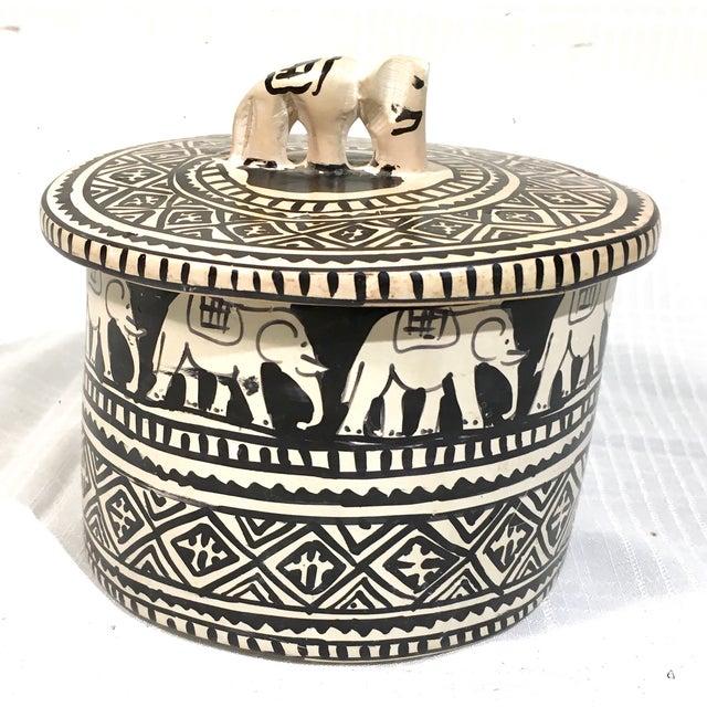 Image of Round Handcarved Stone Elephant Trinket Box