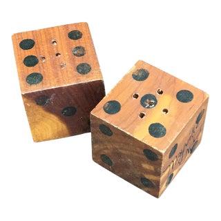 Vintage Wood Dice Salt & Pepper Shakers - A Pair
