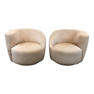 Pink Suede Swivel Chairs - A Pair