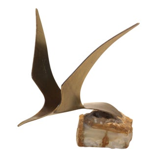 Vintage Bird in Flight Sculpture on Onyx Stone by Curtis Jere