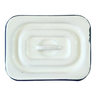 Antique White & Blue Enamelware Box