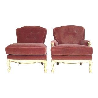 Rose Mohair Slipper Chairs - A Pair