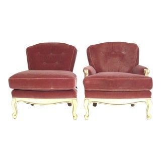 Rose Mohair Slipper Chairs - A Pair