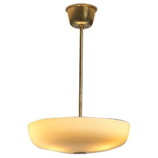 Paavo Tynell Opaline Glass and Brass Pendant for Taito, Finland, 1940s