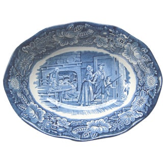 Liberty Staffordshire Transfer Ware Blue Oval Serving Bowl