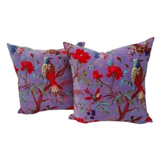 Purple Cotton Velvet Floral Bird Pillows - A Pair