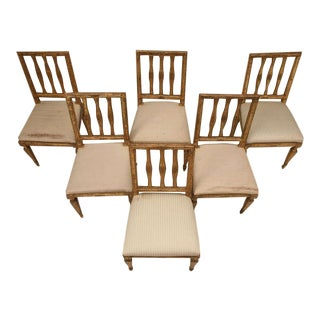 Antique Italian Silverleaf Dining Chairs - Set of 6