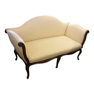 Antique Cream & Gold Patterned Settee