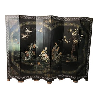 Asian 6-Panel Lacquered Hardstone Screen