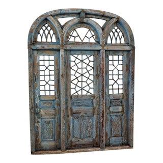 Rustic Blue Jodhpur Church Door With Mirror
