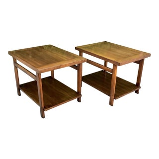 Mid-Century Modern Lane Walnut End Tables - A Pair