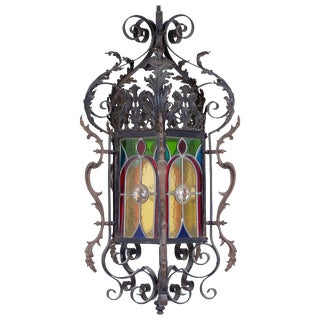 Wrought Iron Stained Glass Lantern