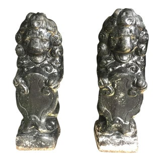 Antique Black Stone Lion Foo Dogs - A Pair