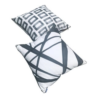 Mod Patterned Charcoal & White Pillows - A Pair