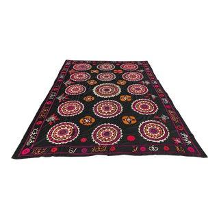 Vintage Black & Pink Suzani Bedspread