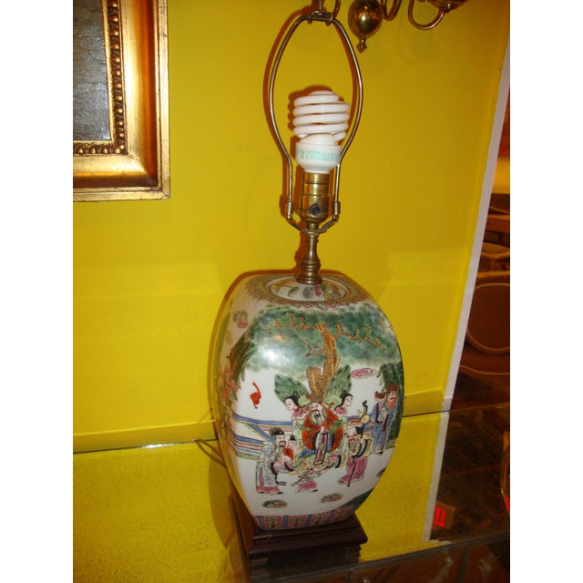 Chinese Export Porcelain Painted Ginger Jar Table Lamps- A Pair - Image 10 of 10