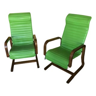 Thonet Bentwood Lounge Chairs in Green - A Pair