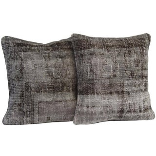 Vintage Gray Handmade Over-Dyed Pillow Covers - Pair