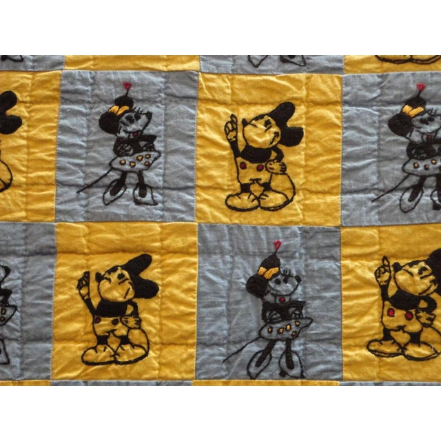 Mounted Folky and Rare Mickey & Minnie Mouse Crib Quilt - Image 4 of 7